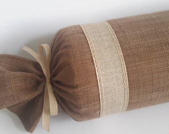 Custom Natural Linen Decorative Bolster Pillow - Size - 24 in x 6 in