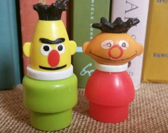 Fisher Price Sesame Street Bert and Ernie/Vintage 1970s Little People Playset Figures/Jim Henson's Muppets/Nursery/Baby Shower Decor/Upcycle