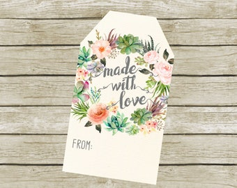 Made With Love Tags, Digital File, Succulent Tags.  Headband Tags. Headband Making Station  Instant Download.