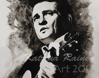 Johnny Cash Original Watercolor Art