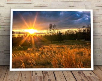 Sunset Rural North Carolina Field 8x10 16x20 Landscape Photography Fine Art Print Canvas Wall Art NC Countryside Farmland Photograph