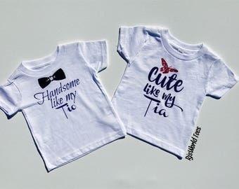 Cute Like My Tia Infant T-shirt, Handsome Like My Tio Infant T-shirt, Tia t-shirt, Tio t-shirt, Spanish T-shirts, Tia Tio Bodysuit