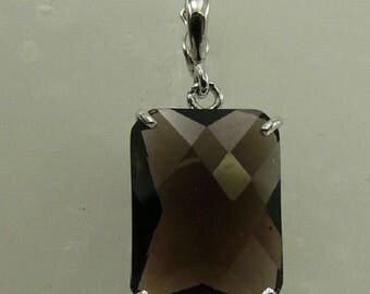 Smokey Topaz Rectangle Shape Pendant with Sterling Silver Setting