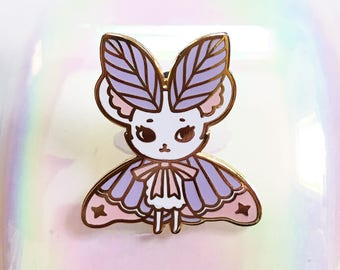 Purple Cotton Candy MouseMoth Gold Hard Enamel Pin