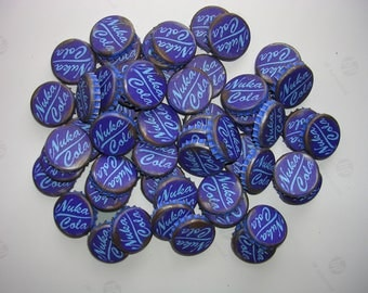 Fallout 3 or 4 style Nuka Cola Caps  Blue - lot of 10  Wasteland or Cosplay