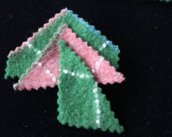 Up-Cycled Argyle Pattern In Pink, White And Green Wool Brooch With Pearl Beading Accenting The Design