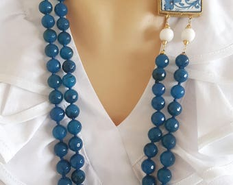 Gemstone Necklace Blue Agate with ceramic Caltagirone, multiwire necklace, Italian jewellery