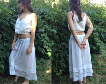 Antique Handmade Victorian White Cotton & Lace Petticoat