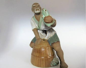 sale Chinese Mudman, Vintage Chinese Pottery, Vintage Fishing Mudman, Mudman Sculpture, Oriental Figurine, Man Fishing, Asian Decor