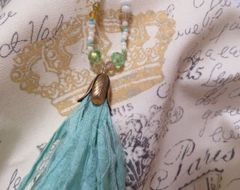Cream, green and blue beaded silk tassel necklace