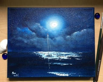 Moon Wall Art, Full Moon Ocean Painting, Sailboat Painting, Gift for Him, Sea at Night, Seascape, Coastal Art, Original Oil Painting
