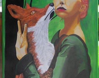 Original Acrylic Painting - Familiar - Fox - Animal painting