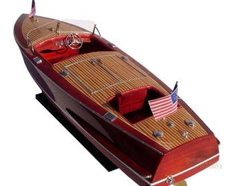 "32"" Chris Craft Racing Runabout Display Wooden Model Boat"