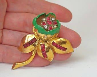 Flower Dress Clip Quivering Camellia Trembler 1940s  Brooch Red Rhinestone Green Enamel Gold Tone UK