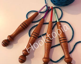 Wood handle crochet hook set (sapele)
