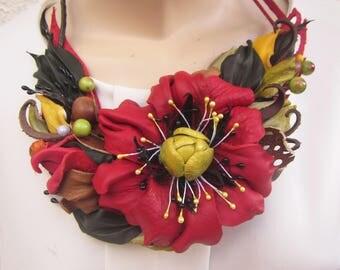 Red Poppy Necklace, leather poppy necklace, Poppy Necklace leather, Leather necklace Poppy, Summer necklace flower, summer flower necklace