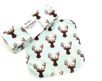 Set of 12 Cloth Napkins // Deer // Woodland // Cloth Wipes // Reusable // Baby Wipes