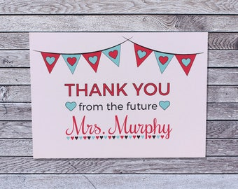 Personalized Wedding Bridal Shower Thank You Cards / Custom Single or Pack