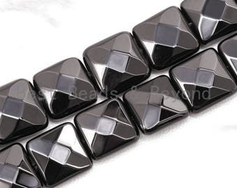 """Top Quality Faceted Square Black Onyx Beads 10mm 12mm 14mm Natural Stones, Gemstones Beads,Square Beads, 15.5"""" Full Strand, SKU#Q18"""