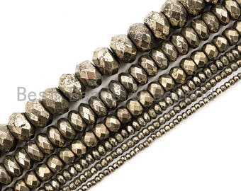 """Quality Natural Faceted Pyrite Roundelle Beads,6x10mm/5x8mm/6x4mm/4x3mm/3x2mm, Pyrite Gemstone Beads, 15.5"""" Full Strand SKU#W4"""