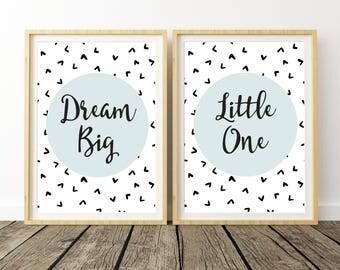 Dream Big Little One, Nursery Set Prints, Playroom Decor, Art Above Crib, Above Crib Decor, Kids Room Decor, Nursery Shelf Decor