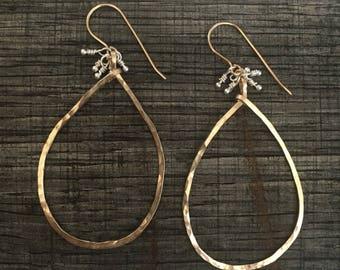 Silver and gold teardrop hoop earrings