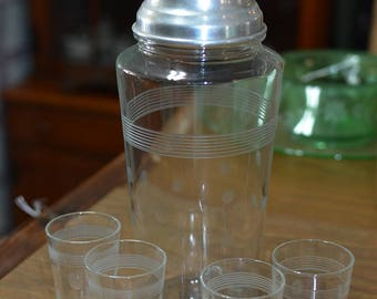 Mid Modern 1960s Etched Glass Dot Shaker and 4 Shot Glasses