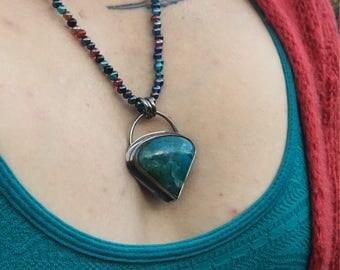 Sterling Silver Jasper Pendant, Jasper Beaded Necklace, Polychrome Jasper Pendant, Vintage Glass Bead Necklace
