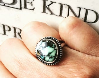 Prince Variscite Ring, Turquoise Ring, Sterling Silver Ring, Size 6.5 Ring