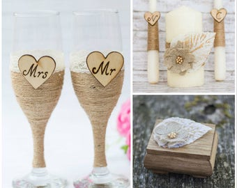 Rustic Wedding Set Unity Candle Ring Box Champagne Glasses Personalized Ring Bearer Toasting Flutes Ivory Unity Candle Ceremony