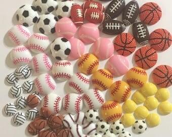130 Pcs Kawaii Sports Ball Cabochons Set, 13 Styles, DIY Decoden Crafting