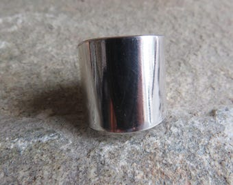 925 Sterling silver wide band cigar ring
