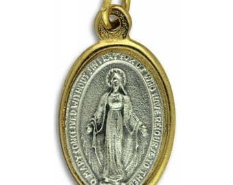 Miraculous Medal Necklace - Italian made - silver and gold tone - 18 inch stainless steel chain with lobster claw