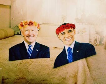 Obama and Biden Flower Crown Aesthetic Stickers