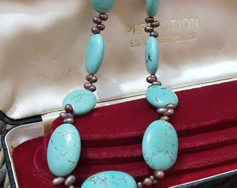 Vintage Necklace/choker,large Magnesite Turquoise, Black Pearls, Silver Clasp