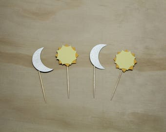 Sun and Moon Cupcake Toppers, Cardstock, Paper, Party Decor, Party