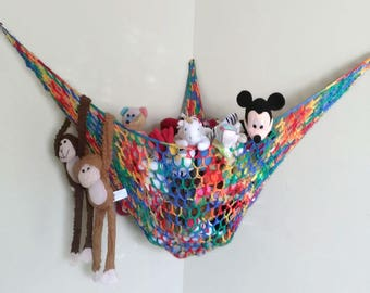 Stuffed Animal Hammock, Stuffed Toy Storage, Plushie Animal Net, Rainbow Kid's Decor, Baby Nursery, Toy Organizer, Beanie Baby Hammock