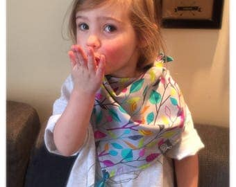 cotton baby & toddler scarf with pompon, bandana scarf,