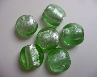 Second choice: set of 6 glass beads, green color with silver leaves