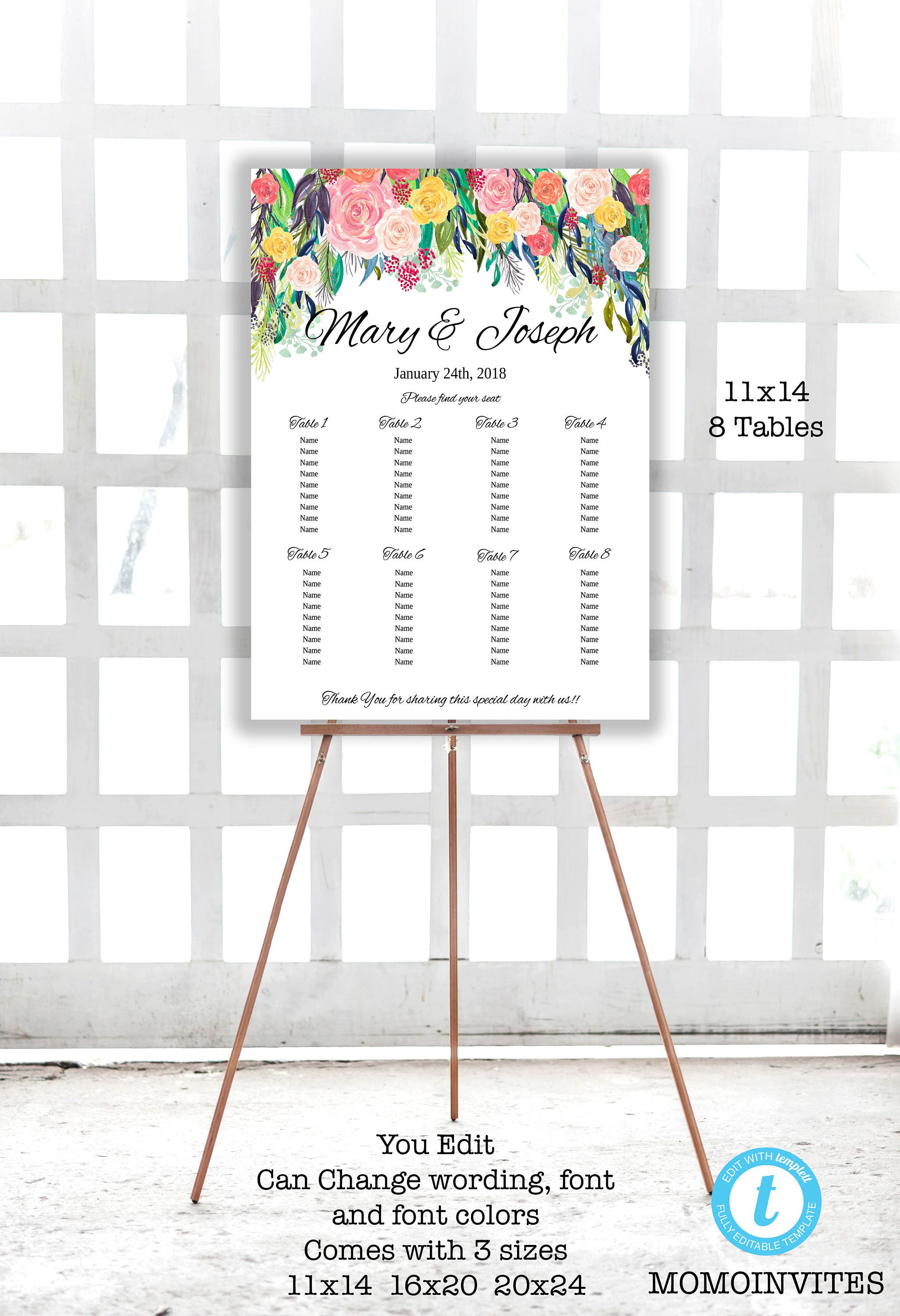 wedding table seating template