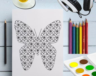 printable butterfly colouring page, insect coloring page, digital adult coloring sheet, instant download black white butterfly poster