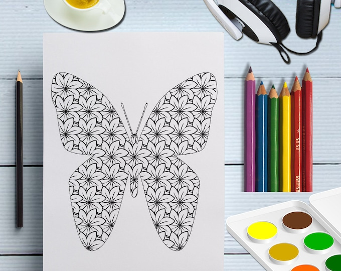 Butterfly Coloring Page For Grownup, Adults Coloring Page Butterfly, Color In Butterfly, Digital Colouring Butterfly