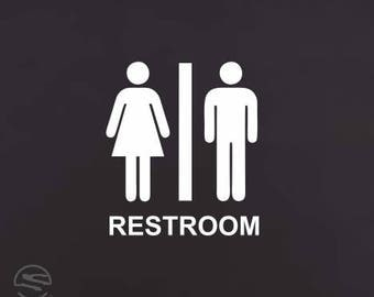 Bathroom Signs Commercial restroom decal | etsy