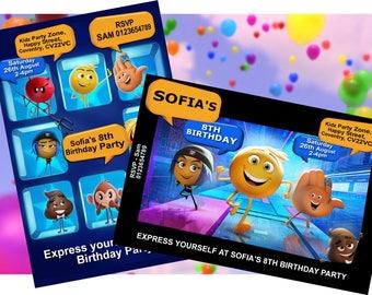 Emoji Movie - Personalised Children's Party Invitations -  Pack of 10 - 2 Designs
