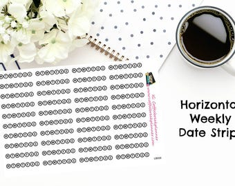 Planner Stickers| Weekly (Monday-Sunday) Date Strips| Choose From Horizontal or Vertical Orientation|Neutral Colors|LB006 LB007