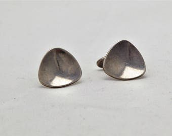 Vintage sterling silver Modernist mid century triangle cuff links signed A&K