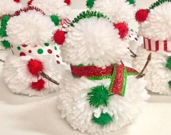 Snowman Decor, Snowman Pom Pom, Snowman Garland, Christmas Decor, Kids Christmas Decor, Classroom Holiday Decor, Winter Decor, Holiday Yarn
