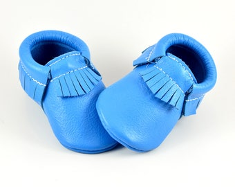 Baby Moccasins Cool Ultra Light Blue Genuine Leather Moccs Newborn Boys Girls Kids Toddler Soft Soled Handmade Prewalker Shoes
