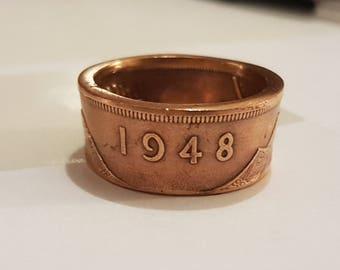 Coin Ring Irish Penny 1948 Size Q