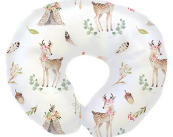 Blakely Boho Woodland | Girl Woodland, baby deer, Tee Pee, Boho Nursery | Baby Girl Nursing Pillow Cover